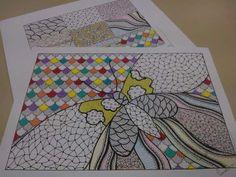 Composição de hachuras em nanquim e lápis de cor