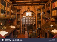 Download this stock image: Mallorca Sa Granja country house religious library writing room or scriptorium for writing sermons - B747K7 from Alamy's library of millions of high resolution stock photos, illustrations and vectors.
