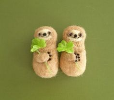wool felted sloths
