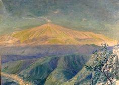 RARE CA 1950 Sicily Mount Etna Taormina Impressionist Painting Oil ...