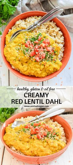 A quick & easy Red Lentil Dahl that is as soul warming as it is delicious. It's super creamy thanks to the melty red lentils & rich coconut milk. Perfect served over rice for an easy meal! via @avirtualvegan #vegan #dahl #vegetarian