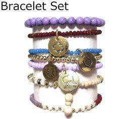 CAT HAMMILL ( キャットハミル ) オーストラリア の ファッショナブル パープル ブレスレットセット Mixed Purple bracelet set gold ゴールド ブレスレット ポーチ ゲット 海外 ブランド