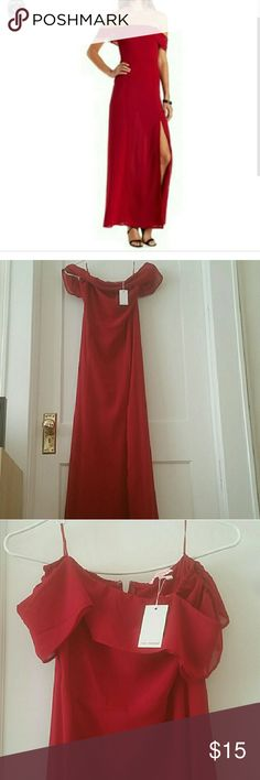 Off Shoulder Red Maxi Dress Beautiful dress with high slit Zip back  Perfect for Valentine's Day, New Year's Eve, Christmas/Holiday Party, Formals, Weddings, etc Charlotte Russe Dresses Maxi