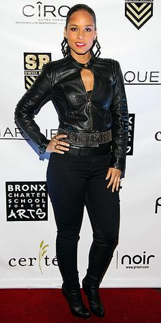ALICIA KEYS  Looking tough in a studded leather jacket, high-heel boots and statement earrings, the singer hits all the rights notes at a Ciroc-sponsored N.Y.C. fundraiser for the Bronx Charter School for the Arts.