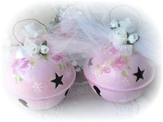 6 PINK Jingle BELL Ornaments Chic Christmas by RoseChicFriends, $15.99