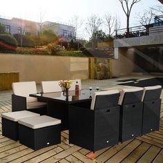 rattan outdoor garden furniture corner sofa set in black pkl leisure