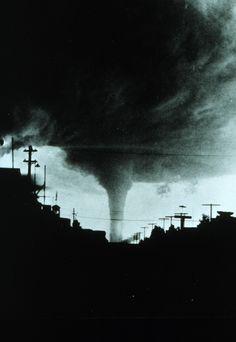 Tornado approaching Canadian city. Vulcan,...