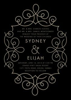 Simplified Deco - Signature White Wedding Invitations - Baumbirdy - Black : Front
