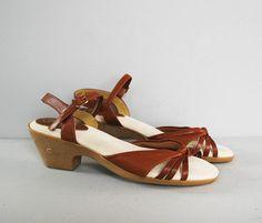 vintage BASS deadstock brown leather sandals ankle by secretlake