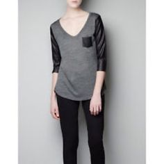 Zara Grey Shirt with Black Pleather Sleeves Barley worn, bought from Zara, good condition, no blemishes. Zara Tops