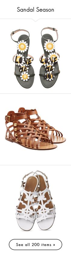 """Sandal Season"" by brassbracelets ❤ liked on Polyvore featuring shoes, sandals, flats, flat sandals, flat leather sandals, valentino shoes, genuine leather shoes, flat shoes, sapatos i camel"