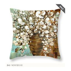 Modern Art Throw Pillow Abstract White Blossom Flower Bouquet Modern... ($34) ❤ liked on Polyvore featuring home, home decor, throw pillows, decorative pillows, grey, home & living, home décor, white home decor, flowered throw pillows and grey accent pillows