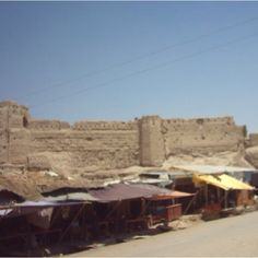 Lashkar Gah, Afghanistan Market & old ruins of a castle on the Hellmand River.