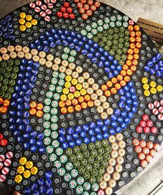 Bottlecap table. Lots of color and fun.