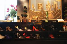 Shoe collection on display in cindy gallop's apartment.
