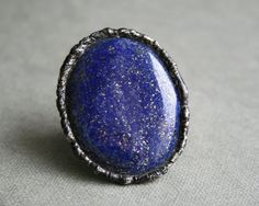 golden blue, indigo, lapis lazuli ring, oval gemstone, tiffany method, vintage jewelry, OOAK, adjustable, christmas gift, Blacksmithworkshop by Blacksmithworkshop on Etsy