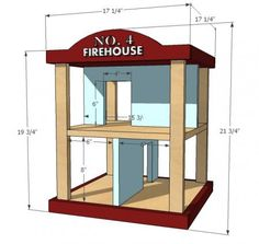 DIY Furniture Plan from Ana-White.com  Build a solid wood firehouse playset with these free simple easy plans! Made of solid wood, this sturdy playset will last and last!