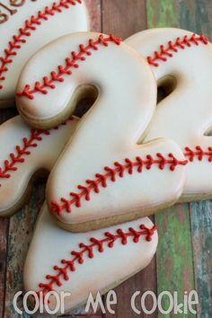 One dozen (12) BASEBALL NUMBER Sugar Cookies