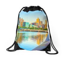 Melbourne Skyline Yarra Reflections from Southbank Drawstring Bag