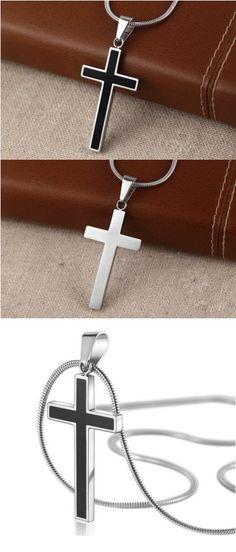 Great Titanium Steel Black Cross Pendant Necklace for an unbelievable price