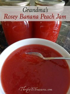 This Rosey Banana Peach Jam is a bit of Heaven in a jar! The mix of peaches, bananas and maraschino cherries give it a wonderfully unique flavor.