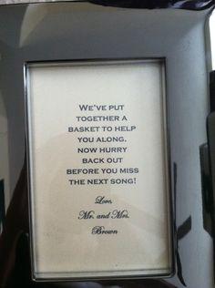 Wedding bathroom basket sign