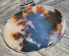 23.9g Scenic Dendritic Agate 925 Sterling Silver Pendant Jewelry JJ3890