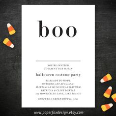 Halloween Party Invitation  DIY Printable  Boo by PaperFoxDesign, $10.00