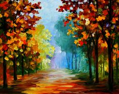 """BLUE FOG IN THE FOREST — PALETTE KNIFE Oil Painting On Canvas By Leonid Afremov - Size 30""""X24"""""""