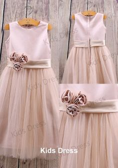 A-line Scoop Floor-length Tulle Pretty Flower Girl Dress With Flowers And Sash