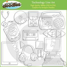 Technology Line Art / Digital Stamp Download