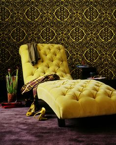 beautiful chaise lounge chair, just not yellow please! Chaise Lounges, Chaise Longue Design, Yellow Sofa, Yellow Chairs, Bedroom Yellow, Bedroom Sets, Master Bedroom, Yellow Interior, Take A Seat