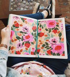 Sketchbook de Josefina Jiménez (@jojimenez) • Pattern floral pintado con acrílico, plumones y pintura metalica sobre papel Pattern Floral, Paper Envelopes, Hand Made, Pintura