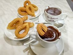 Churros and chocolate is a typical snack in Barcelona, Spain