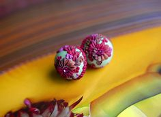 raspberry and chocolate inspired bauble earrings by jennifermorris, via Flickr