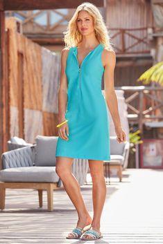 Beyond Travel™ Short Zipper Dress Bachelor Buttons, Travel Dress, Boston Proper, Polished Look, High Neck Dress, Zipper, Summer Dresses, Clothes For Women, Casual