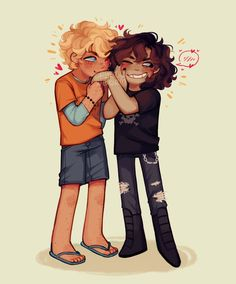 """"""" a solangelo commission from a few days ago ❤💛❤💛 (please don't use this unless you are the commissioner! Percy Jackson Fandom, Percy Jackson Ships, Percy Jackson Fan Art, Percy Jackson Memes, Solangelo Fanart, Percabeth, Rick Riordan Series, Rick Riordan Books, Will Solace"""
