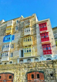 Colourful Maltese balconies in Valletta,Malta