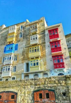 Colourful Maltese balconies in Valletta,Malta