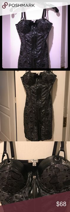 """Hot hot 💥⚡️💥lingerie type dress Charcoal grey and silver. Never worn. Too intimidated to try to rock this number. But I know you can. Would fit a-b cup. Front zipper closure. Lingerie straps. Everything intact. Faux leather in sides of zipper & on top of bra. Underwire. No need for separate bra.  Just listed so no discounting yet . But Buy 2 get one item (lowest cost) FREE! Fit 0-2 is my sense of this size Small. 80 poly 20 cotton hand wash. 24"""" from top of dress to hem, not including…"""