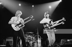 Alex Lifeson and Geddy Lee performing live onstage on Exit.Stage Left tour at Wembley Arena in London on November 04 Get premium, high resolution news photos at Getty Images Rickenbacker 4001, Rush Concert, Rush Band, Frankie Goes To Hollywood, Alex Lifeson, Geddy Lee, Neil Peart, Wembley Arena, The Yardbirds