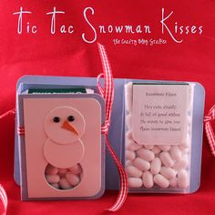 Tic Tac Snowman Kisses - I like it ALOT better than snowman poop!  He's cute, Cuddly,  & full of good wishes.  He wants to give you  These snowman kisses!