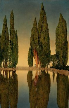 Maxfield Parrish - The Reservoir at Villa Falconieri, Frascati, 1903. Oil on canvas.