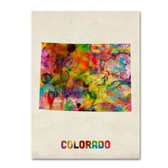 Trademark Fine Art Colorado Map Canvas Wall Art by Michael Tompsett, Size: 18 x 24, Multicolor