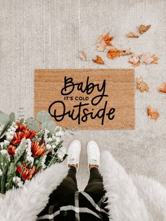 Baby its cold outside fall decor hello welcome mat hand Fall Home Decor, Autumn Home, Diy Home Decor, Winter Christmas, Christmas Home, Christmas Doormat, Fall Winter, Winter Magic, Christmas Things