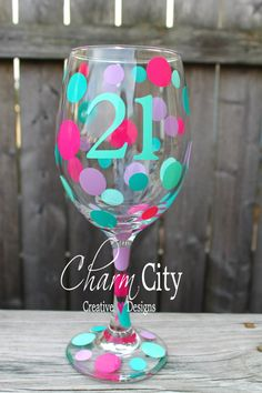 Items similar to Personalized Birthday/Anniversary Wine Glass on Etsy Diy Wine Glasses, Decorated Wine Glasses, Hand Painted Wine Glasses, Disney Stained Glass, Wine Glass Crafts, Vinyl Crafts, Personalized Wine, Glass Art, Decorative Crafts