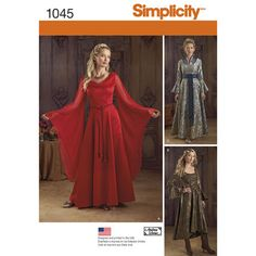 Simplicity 1045 Misses Fantasy Costumes: Misses full length costume gowns include gown view a with draped neckline and hanging sleeves, view b with tied. Costume Patterns, Dress Patterns, Medieval Dress Pattern, Costume Renaissance, Elfa, Full Length Gowns, Fantasy Dress, Medieval Clothing, Halloween Dress