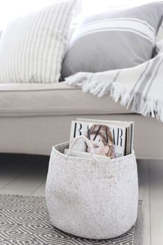 Ferm Living Wire Basket As A Side Table X . Cozy Scandinavian Spring Hygge Style Blankets In A Wire . Industrial Wire And Wood Basket Side Table Wood Basket . Home Design Ideas Interior Inspiration, Room Inspiration, Blanket Basket, Cool House Designs, Scandinavian Interior, House Rooms, Boho, Home Living Room, Decoration