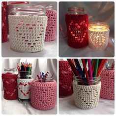 Heart Jar Cozy Free Crochet Pattern by Hooked On Patterns. An easy crochet pattern for beautiful heart design jar decorations, adjustable for any size jar or container! Crochet Patterns For Beginners, Easy Crochet Patterns, Knitting Patterns, Crochet Designs, Crochet Home, Free Crochet, Crochet Style, Crochet Jar Covers, Yarn Sizes