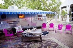 Vintage Airstream with Pink Vintage chairs